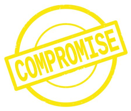 COMPROMISE text, written on yellow simple circle rubber vintage stamp.