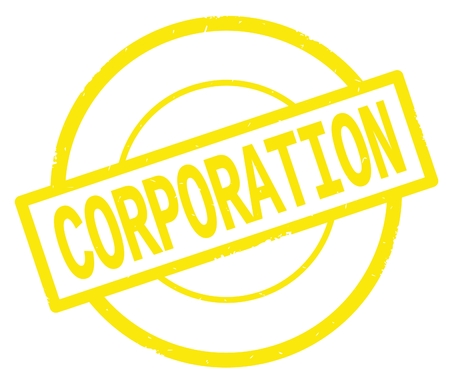 CORPORATION text, written on yellow simple circle rubber vintage stamp. Stock Photo