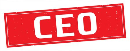 CEO text, on full red rectangle vintage textured stamp sign. Stock Photo