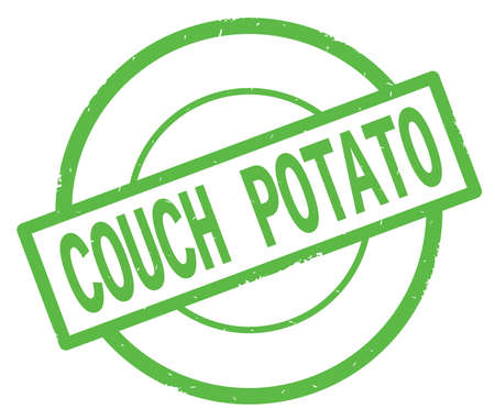COUCH POTATO text, written on green simple circle rubber vintage stamp. Stock Photo