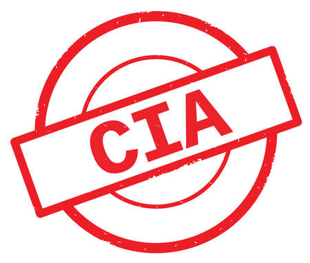 CIA text, written on red simple circle rubber vintage stamp. Banco de Imagens