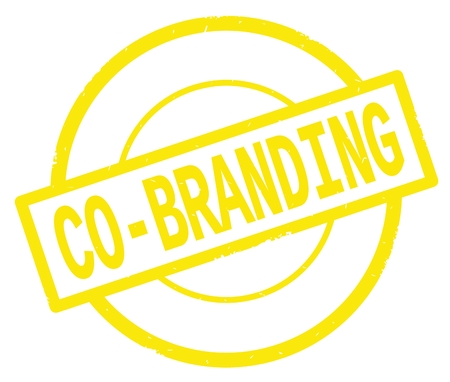 CO BRANDING text, written on yellow simple circle rubber vintage stamp.