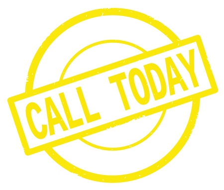 CALL TODAY text, written on yellow simple circle rubber vintage stamp.