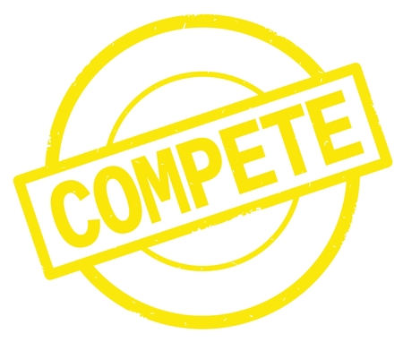 COMPETE text, written on yellow simple circle rubber vintage stamp.