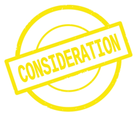 CONSIDERATION text, written on yellow simple circle rubber vintage stamp. Stock Photo