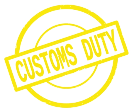 CUSTOMS DUTY text, written on yellow simple circle rubber vintage stamp. Stock Photo