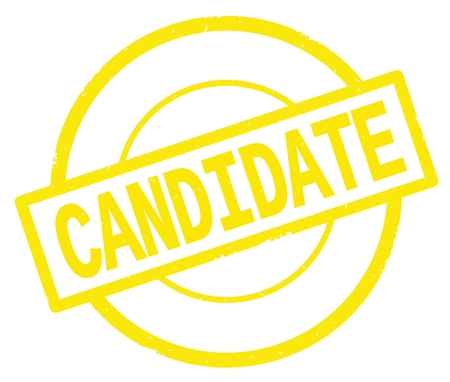 CANDIDATE text, written on yellow simple circle rubber vintage stamp. Stock Photo