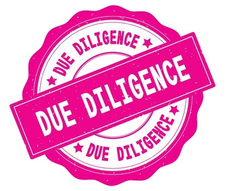 ピンク、レースの境界線、ラウンドヴィンテージテクスチャバッジスタンプに書かれたDUE DILIGENCEテキスト。
