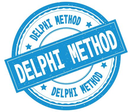 DELPHI METHOD , written text on cyan round rubber vintage textured stamp.