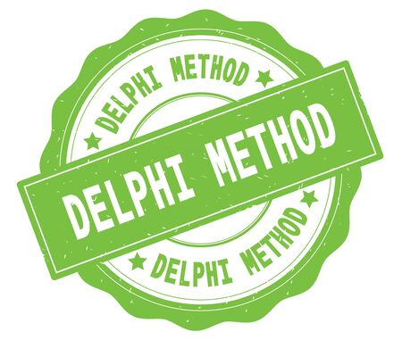 DELPHI METHOD text, written on green, lacey border, round vintage textured badge stamp. Stock Photo - 91260846