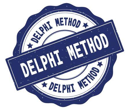 DELPHI METHOD text, written on blue, lacey border, round vintage textured badge stamp.