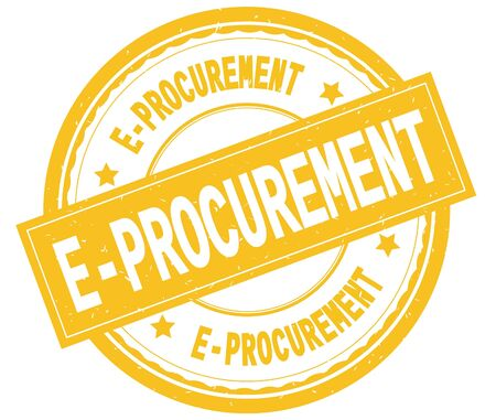 E PROCUREMENT , written text on yellow round rubber vintage textured stamp. Stock Photo