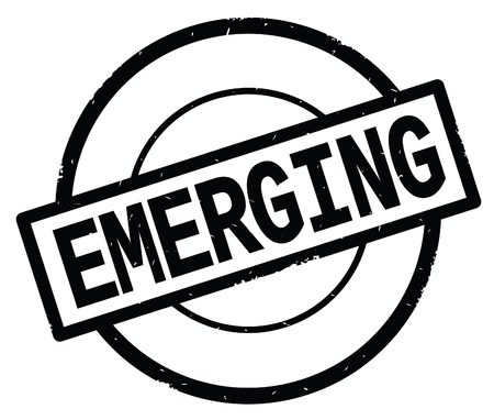 EMERGING text, written on black simple circle rubber vintage stamp. Stock Photo