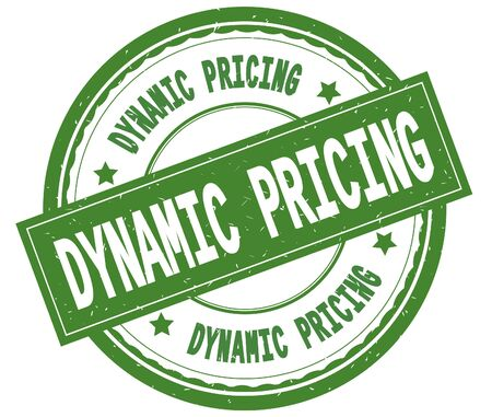 DYNAMIC PRICING , written text on green round rubber vintage textured stamp.