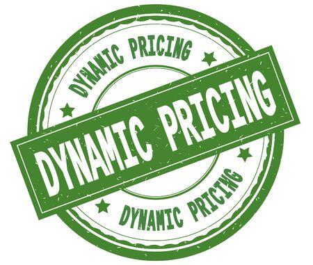 DYNAMIC PRICING , written text on green round rubber vintage textured stamp. 版權商用圖片 - 91258107