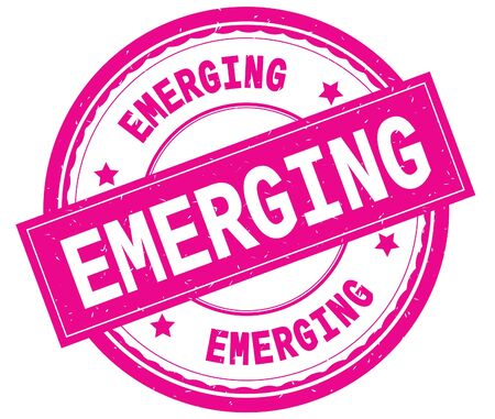 EMERGING , written text on pink round rubber vintage textured stamp.
