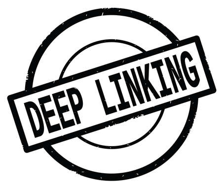 DEEP LINKING text, written on black simple circle rubber vintage stamp.