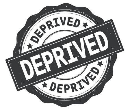 DEPRIVED text, written on grey, lacey border, round vintage textured badge stamp.