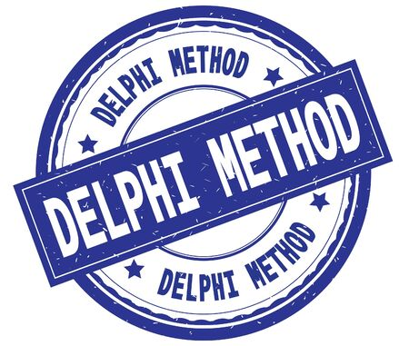 DELPHI METHOD , written text on blue round rubber vintage textured stamp. Stock Photo - 91258261