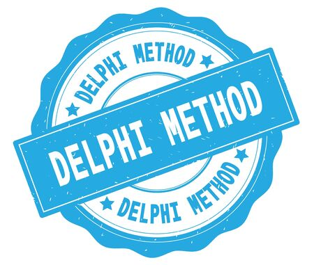 DELPHI METHOD text, written on cyan, lacey border, round vintage textured badge stamp. Stock Photo - 91258733