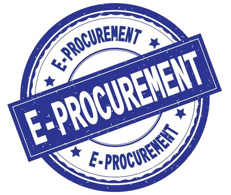 E PROCUREMENT , written text on blue round rubber vintage textured stamp. Stock Photo