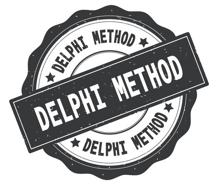DELPHI METHOD text, written on grey, lacey border, round vintage textured badge stamp. Stock Photo - 91258802