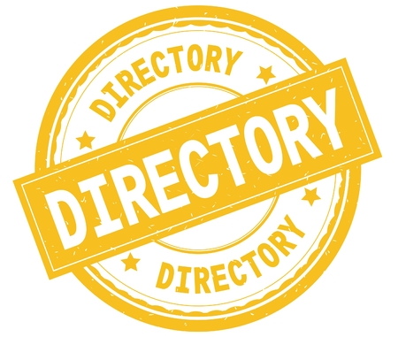 DIRECTORY , written text on yellow round rubber vintage textured stamp. Stock Photo