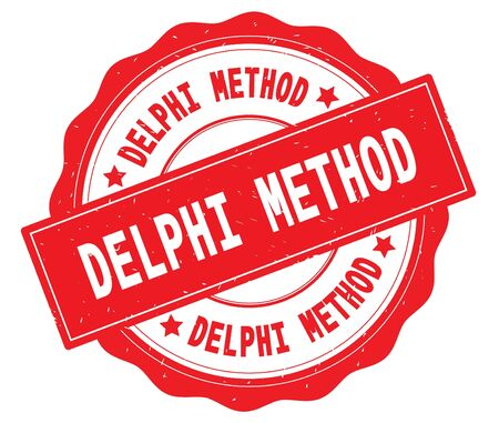 DELPHI METHOD text, written on red, lacey border, round vintage textured badge stamp. Stock Photo - 91258998
