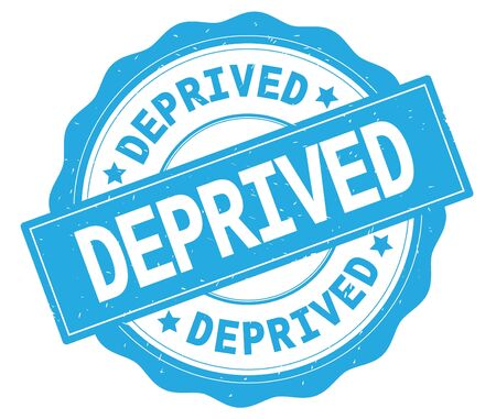 DEPRIVED text, written on cyan, lacey border, round vintage textured badge stamp. Stock Photo