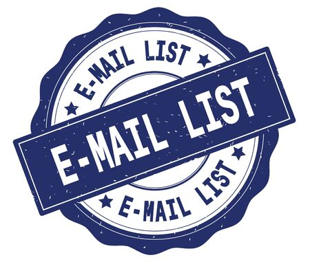 E MAIL LIST text, written on blue, lacey border, round vintage textured badge stamp.