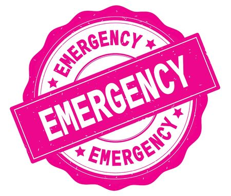 EMERGENCY text, written on pink, lacey border, round vintage textured badge stamp. Stock Photo