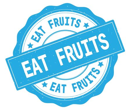 EAT FRUITS text, written on cyan, lacey border, round vintage textured badge stamp.