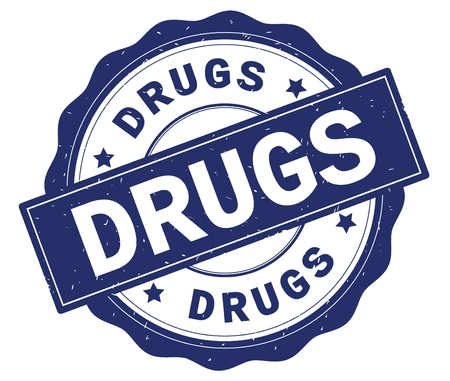 DRUGS text, written on blue, lacey border, round vintage textured badge stamp.