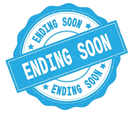 ENDING SOON text, written on cyan, lacey border, round vintage textured badge stamp. Stock Photo