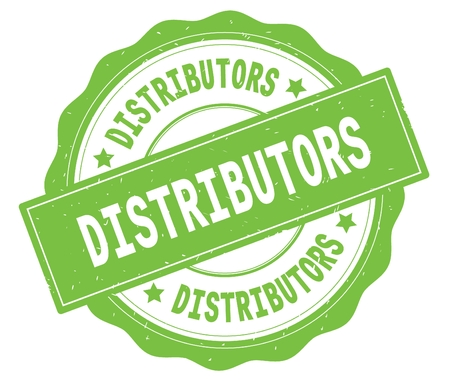 DISTRIBUTORS text, written on green, lacey border, round vintage textured badge stamp.