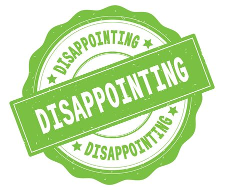 DISAPPOINTING text, written on green, lacey border, round vintage textured badge stamp. Stock Photo