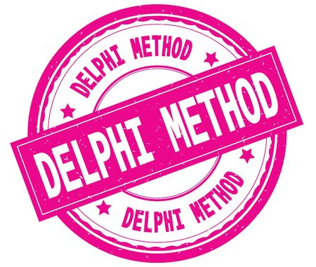DELPHI METHOD , written text on pink round rubber vintage textured stamp. Stock Photo - 91258641