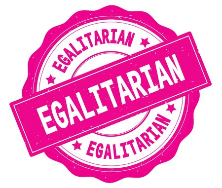 EGALITARIAN text, written on pink, lacey border, round vintage textured badge stamp. Stock Photo