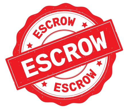 ESCROW text, written on red, lacey border, round vintage textured badge stamp. Stock Photo