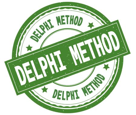 DELPHI METHOD , written text on green round rubber vintage textured stamp. Stock Photo - 91260389