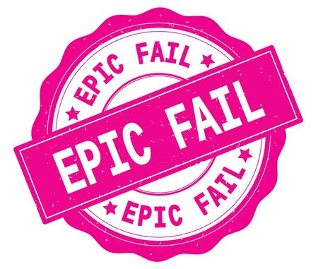 EPIC FAIL text, written on pink, lacey border, round vintage textured badge stamp.