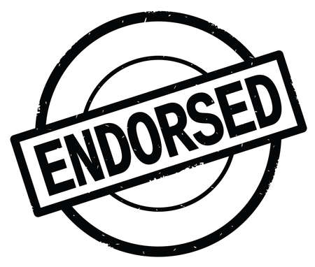 ENDORSED text, written on black simple circle rubber vintage stamp. Stock Photo