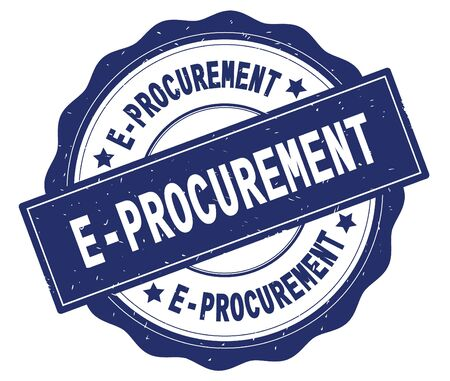 E PROCUREMENT text, written on blue, lacey border, round vintage textured badge stamp. Stock Photo