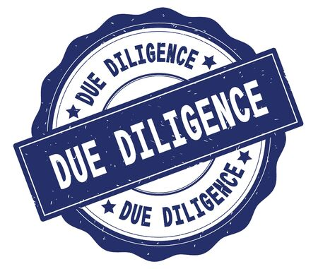 DUE DILIGENCE text, written on blue, lacey border, round vintage textured badge stamp. Foto de archivo
