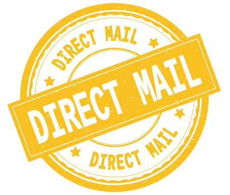 DIRECT MAIL , written text on yellow round rubber vintage textured stamp.
