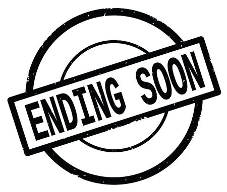 ENDING SOON text, written on black simple circle rubber vintage stamp. Stock Photo