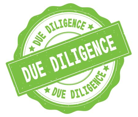 緑、レースの境界線、丸いヴィンテージテクスチャバッジスタンプに書かれたDUE DILIGENCEテキスト。