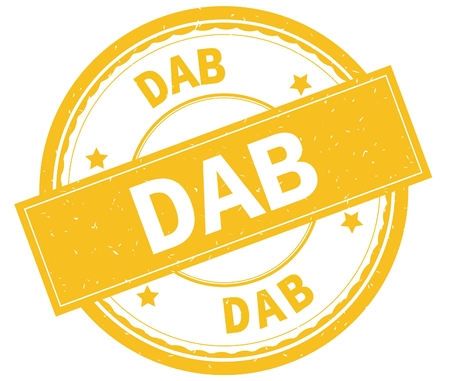 DAB , written text on yellow round rubber vintage textured stamp. Stock Photo