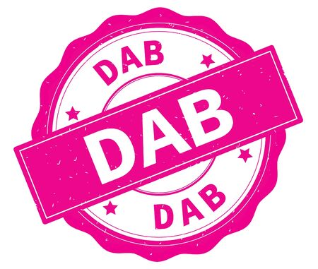 DAB text, written on pink, lacey border, round vintage textured badge stamp.