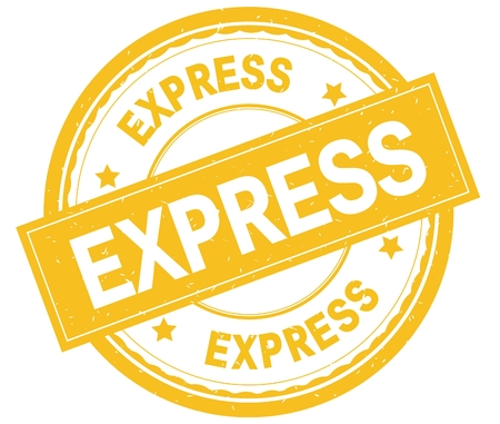 EXPRESS , written text on yellow round rubber vintage textured stamp.